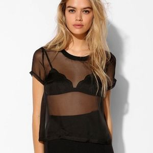 Out From Under Black Sheer Shirt Urban Outfitters